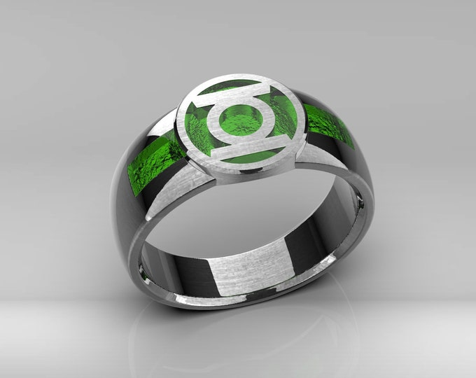 Green Resin Signet Ring .925 sterling silver