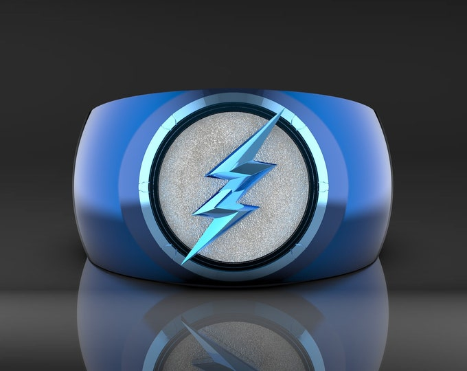 2 Tone Blue Lightning Ring - Ceramic coated and Rhodium plated with a white enameled background.