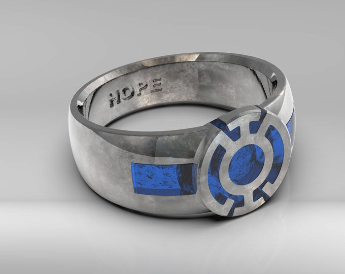 Blue Resin Signet Ring .995 silver with patina