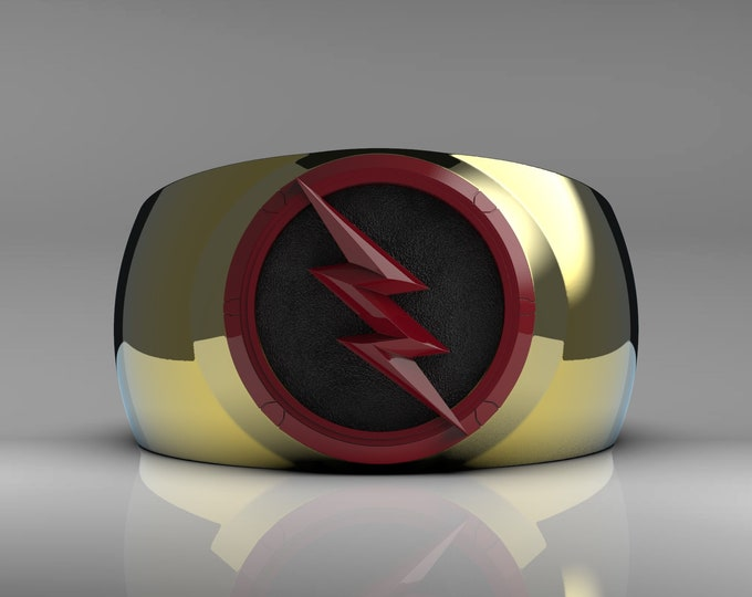 Gold/Red Lightning Ring - Ceramic coated, gold plated and enameled background