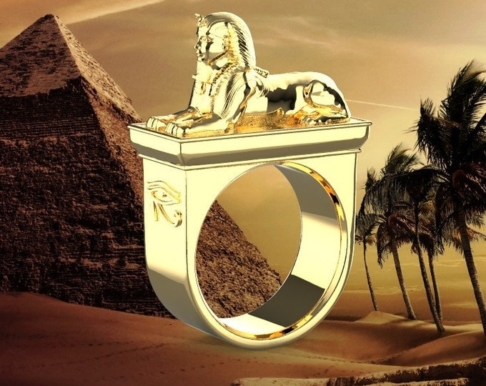 Eygptian Sphinx Ring - 18k Gold Plated