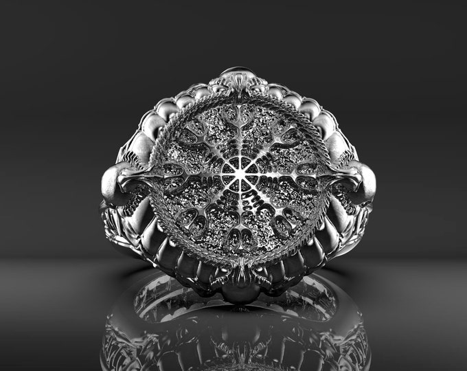 Helm of Awe Ring - Bronze or Silver with patina