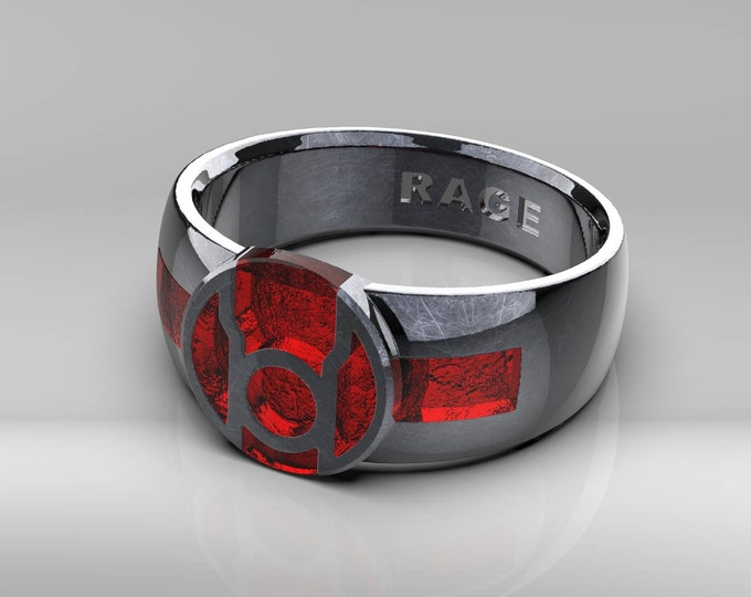 Red Resin Signet Ring .995 silver with patina
