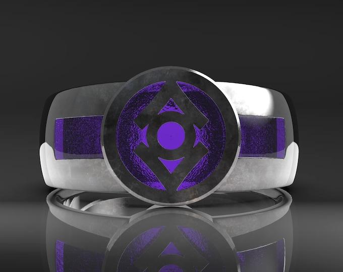Indigo Resin Signet Ring .995 silver with patina