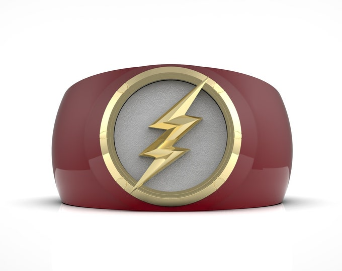 Red/Gold Lightning Ring - Ceramic coated, enameled and gold plated.