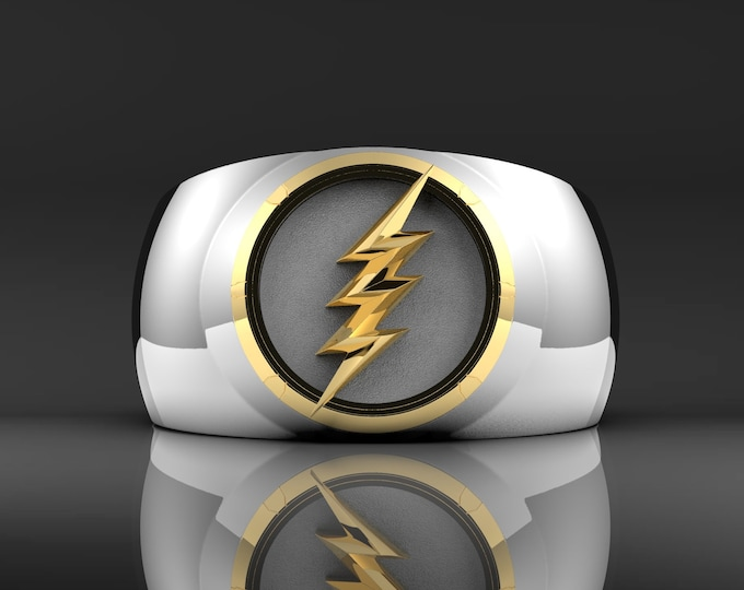 Silver/Gold Lightning Ring - Gold and Rhodium plated with a white enameled background