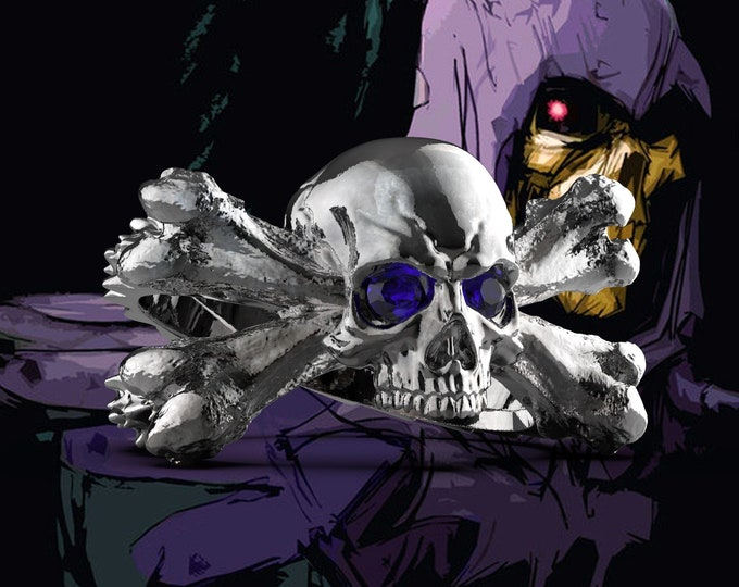 Skull and Bones .995 silver with patina 3-5mm Amethyst stones