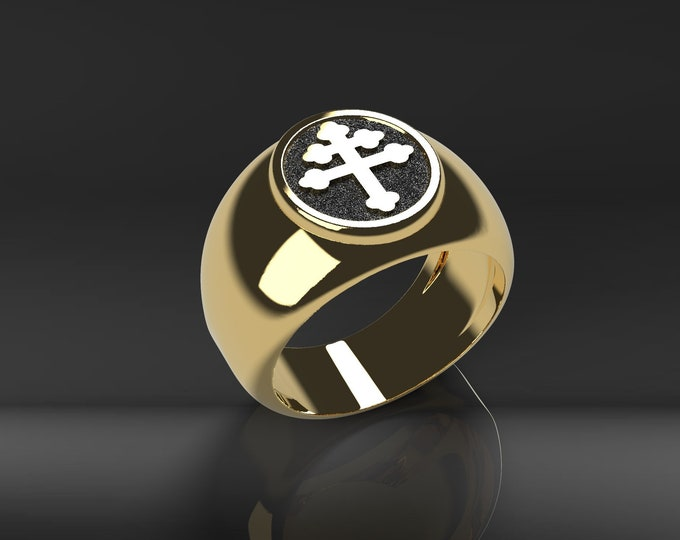 Lorraine cross ring - Silver, Gold, Gold plated or bronze with black enameled background