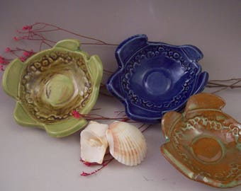 Pottery Turtle Bowls, Original Ceramic Turtle Dishes, Small Bright-Glazed Dishes, Handmade Special Bowls, Fun Gift