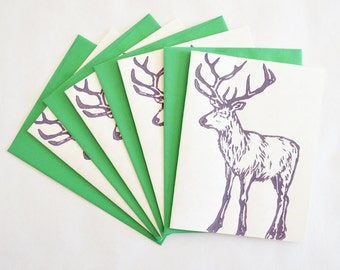 Deer Block Printed Greeting Cards