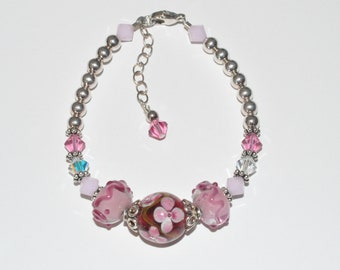 Lampwork Beaded Bracelet, Pink Crystal Bracelet, Swarovski Crystal Bracelet, Lampwork Crystal Bracelet, Spring Flower Bracelet, Beadwork Art