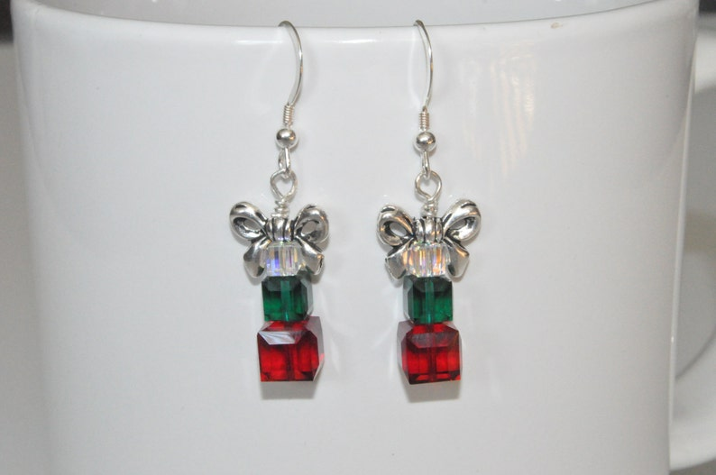 Christmas Earrings Holiday Earrings Beaded Crystal Earrings image 0