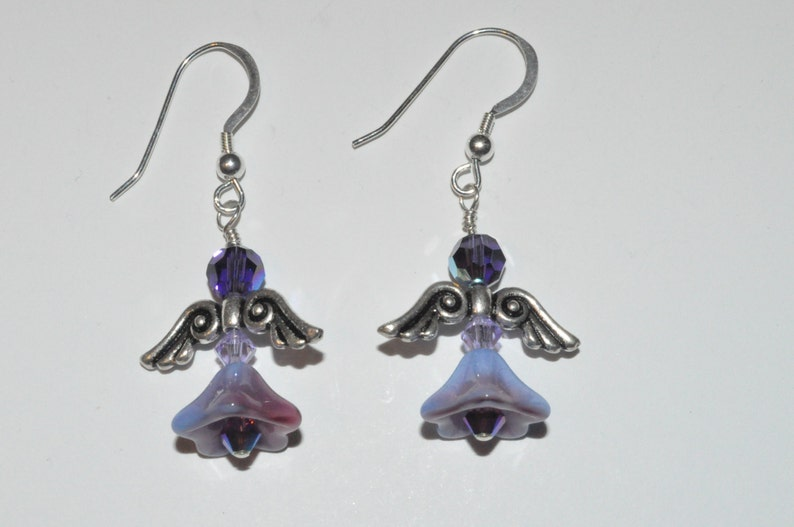 Czech Glass Angel Earrings Crystal Angel Earrings Beaded image 0
