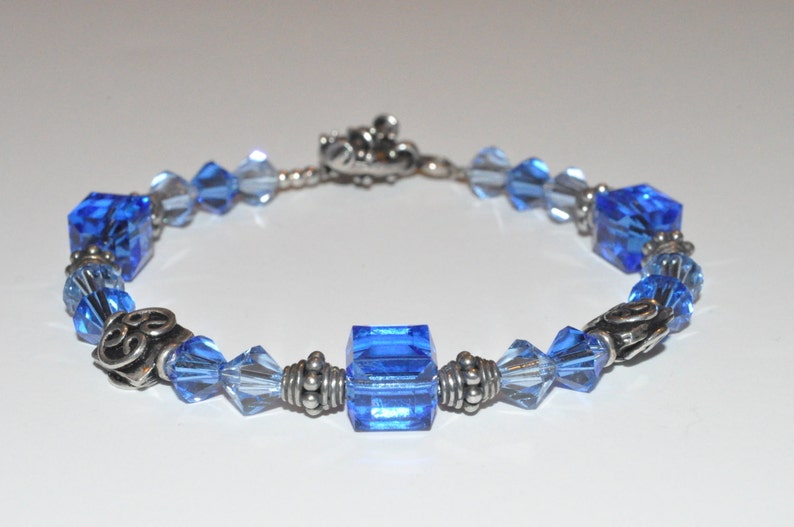 Blue Beaded Bracelet Beaded Crystal Bracelet Bridesmaid image 0