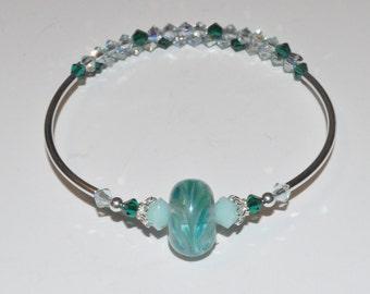Beaded Lampwork Bracelet, Crystal Bangle Bracelet, Swarovski Beaded Bracelet, Glass Bead Bracelet, Ocean Waters Bracelet, Lampwork Jewelry