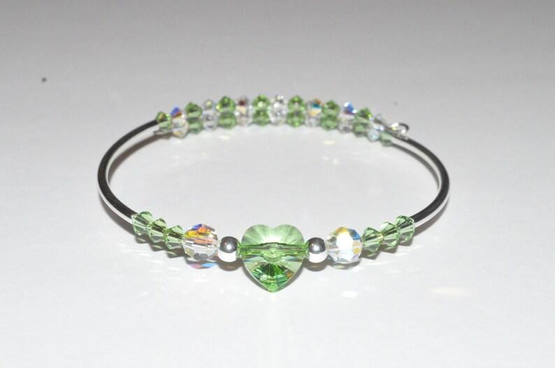 Green Heart Bracelet Beaded Heart Bangle Beaded Bracelet image 0