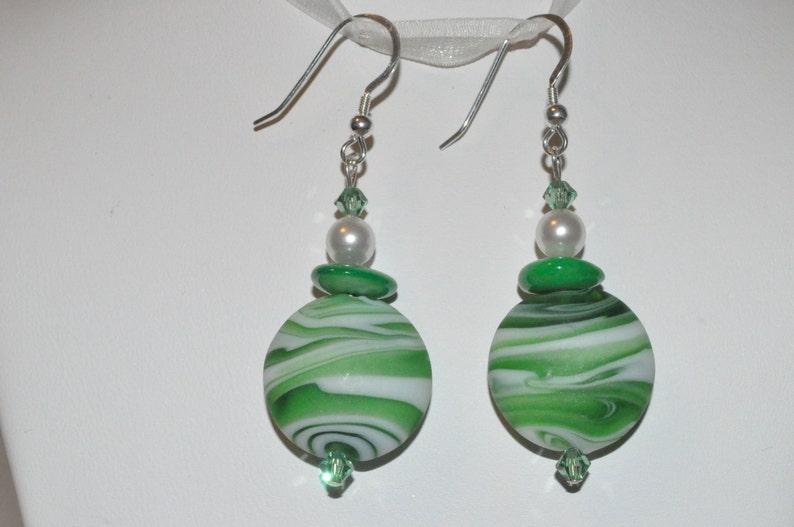Sea Glass Earrings Glass Bead Earrings Beaded Shell image 0