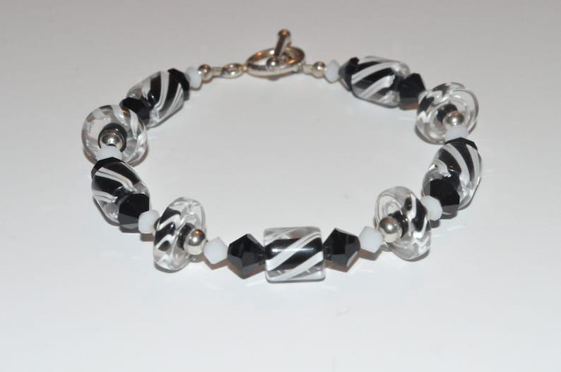 Black and White Beaded Bracelet Beaded Furnace Glass image 0