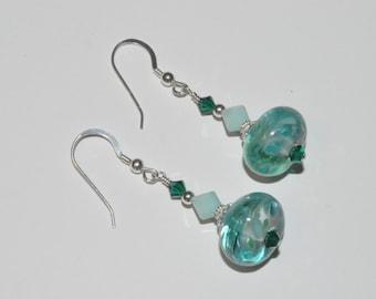 Lampwork Earrings, Glass Bead Earrings, Beaded Lampwork Earrings, Lampwork Jewelry, Crystal Earrings, Ocean Blue Earrings, Summery Earrings