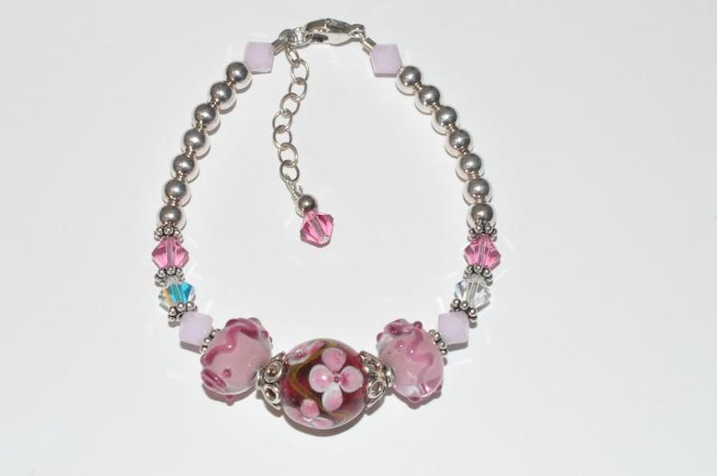 Lampwork Beaded Bracelet Pink Crystal Bracelet Swarovski image 0