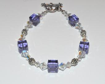 Purple Beaded Bracelet, Beaded Crystal Bracelet, Bridesmaid Bracelet, Glass Beaded Bracelet, Beadwork Bracelet, Mothers DayJewelry