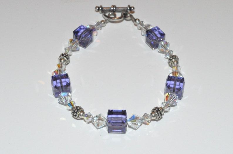 Purple Beaded Bracelet Beaded Crystal Bracelet Bridesmaid image 0