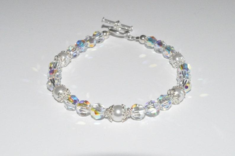 Crystal and Pearl Bracelet Crystal Beaded Bracelet Pearl image 0