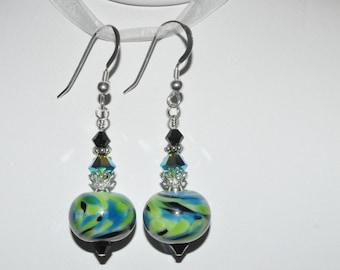 Lampwork Earrings, Glass Bead Earrings, Beaded Lampwork Earrings, Lampwork Jewelry, Crystal Earrings, Green Earrings, Glass Bead Jewelry