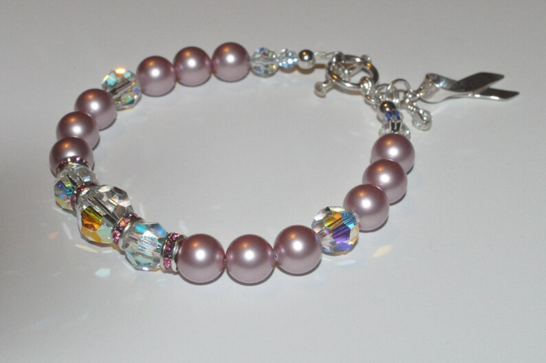 Breast Cancer Bracelet Crystal and Pearl Bracelet Crystal image 0