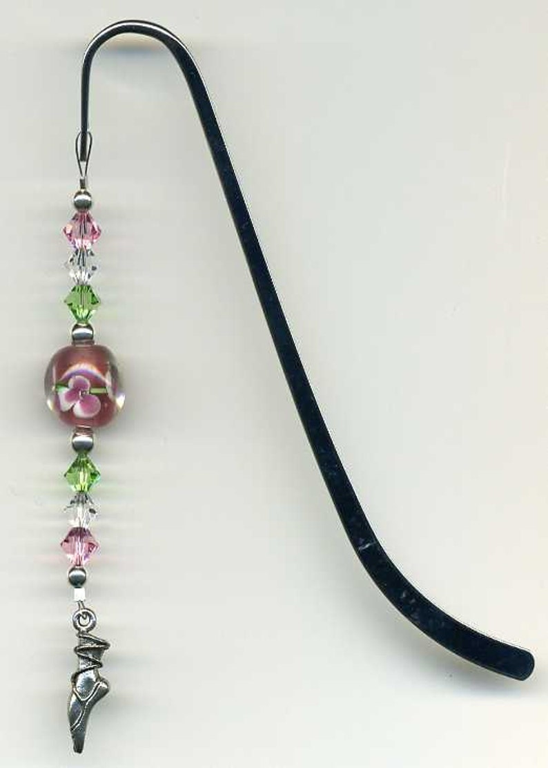 Beaded Lampwork Bookmark Beaded Dancer Bookmark  Ballerina image 0