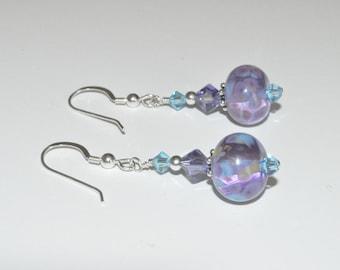 Beaded Lampwork Earrings, Lampwork Earrings, Glass Bead Earrings, Lampwork Jewelry, Crystal Earrings, Purple Earrings, Glass Bead Jewelry