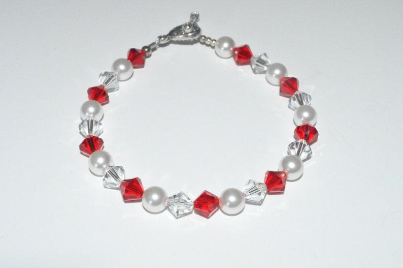Red Crystal Bracelet Crystal and Pearl Bracelet Swarovski image 0