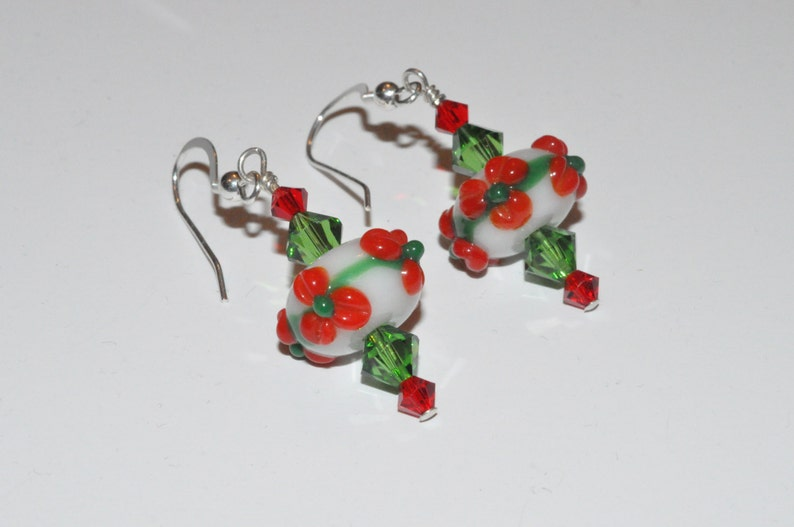 Beaded Lampwork Earrings Beaded Crystal Earrings Crystal image 0
