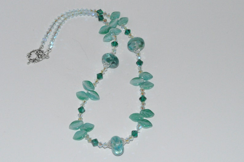 Beaded Lampwork Necklace Beaded Crystal Necklace Czech Glass image 0