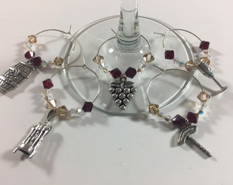 Wine Themed Wine Charms, Party Wine Charms, Glass Beaded Charms, Wine Glass Charms, Swarovski Crystal Wine Charms, Holiday Wine Charms