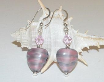 Pink Heart Earrings, Beaded Glass Earrings, Valentines Earrings, Vintage Czech Glass, Beaded Earrings, Beadwork Earrings