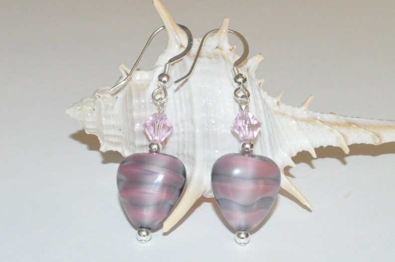 Pink Heart Earrings Beaded Glass Earrings Valentines image 0