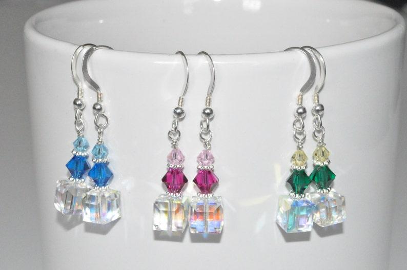 Beaded Crystal Earrings Summer Earrings Bridesmaid Earrings image 0