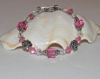 Beaded Crystal Bracelet, Pink Beaded Bracelet, Sterling Beadwork Bracelet, Glass Beaded Bracelet, Beadwork Bracelet, Mothers Day Jewelry