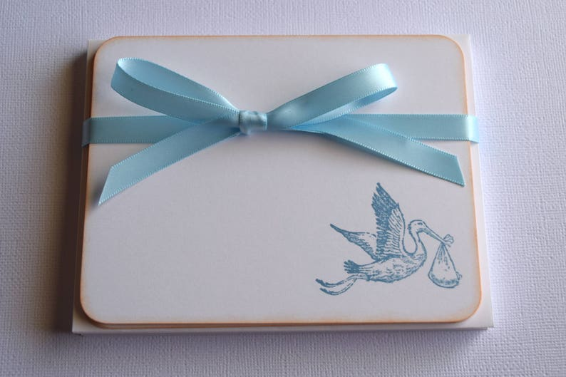 Set of 10 Baby Flat Note Cards Stork