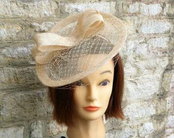Champagne fascinator hat wedding hat veiled natural beige fascinator  cocktail hat races fascinator tea party fascinator bridal hat e00a1f0be15