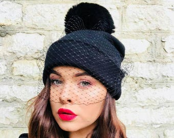1b0a23737c0 Veiled Beanie soft faux fur Pom pom beanie with veil Black beanie with veil  and soft black Pom pom
