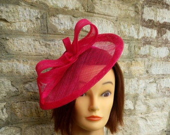 Pink fascinator bright pink wedding hat cocktail hat fuschia pink  fascinator Bright pink races hat christening hat tea party fascinator 35baa3baa5f