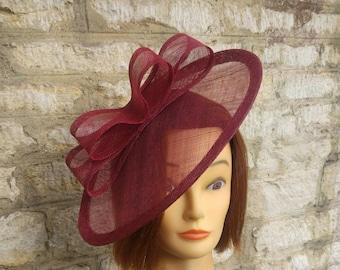 6ad024c3ad57b7 Burgundy wedding fascinator wine red wedding hat church hat burgundy races  hat christening tea party fascinator