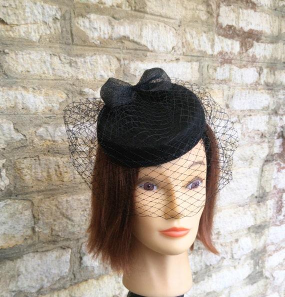 57176b603b1 Black Pillbox hat with veil black wool felt cocktail hat bow