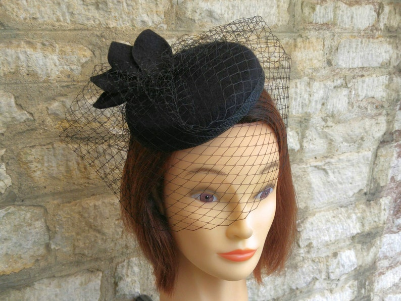 d8b40b7eb8c Pillbox hat with veil black wool felt cocktail hat and