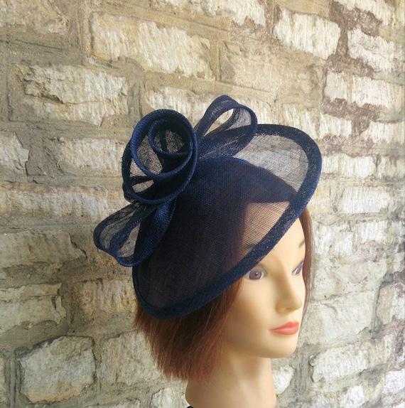 8306a8ac2cdb0 Navy blue Wedding hat wedding fascinator hat races fascinator