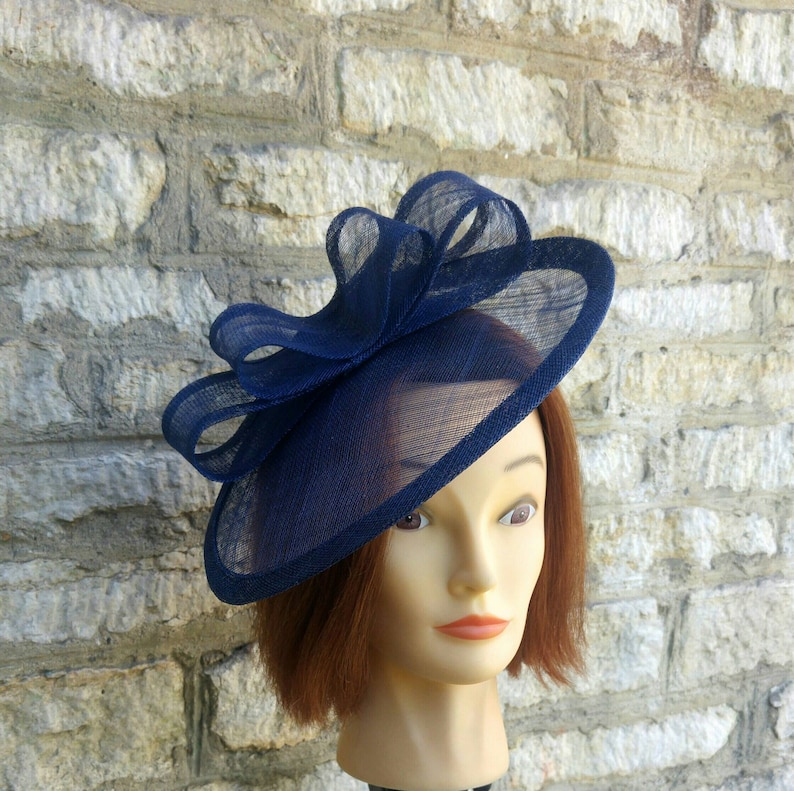 Navy blue wedding hat fascinator hat on headband dark blue  2adfe6a089b