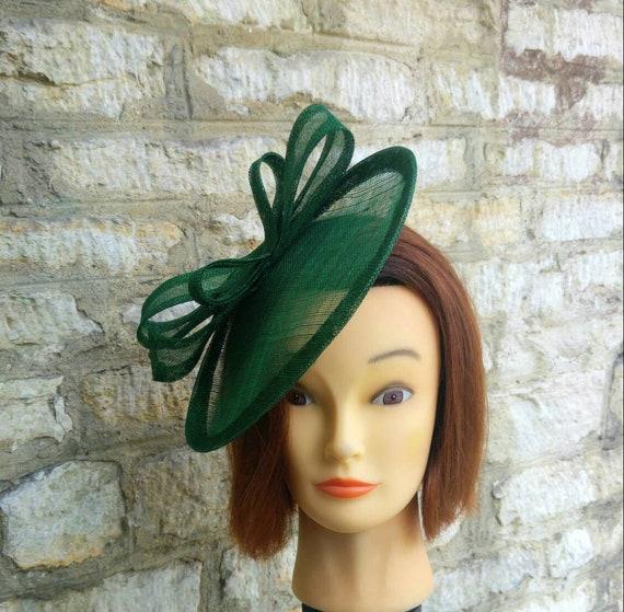 Dark green wedding hat fascinator hat on headband forest green wedding  fascinator races fascinator Kate Middleton hat tea party hat 1251ff7c7b6