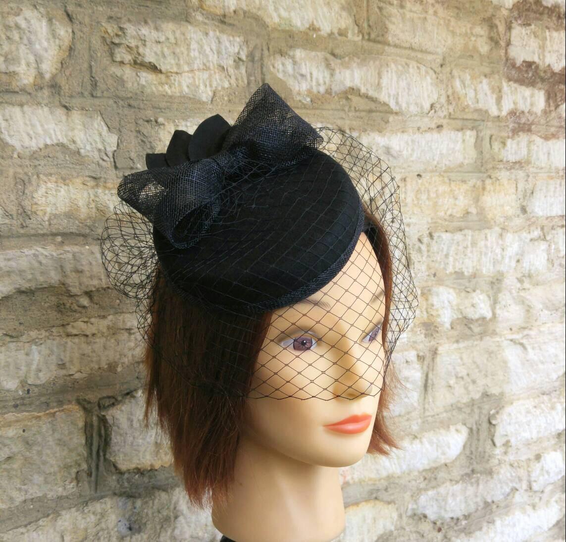 2e55d207e53 Pillbox hat with veil black wool felt cocktail hat bow